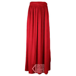 WOMENS FOLD OVER WAIST LONG LADIES JERSEY MAXI SKIRT 4 COLOURS SIZES 8-14