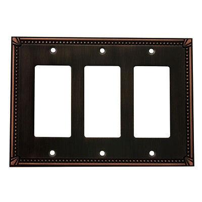 Oil Rubbed Bronze Triple Decora / GFCI Rocker Switch Wall Plate Cover 44095-ORB