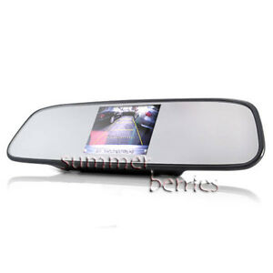 "Rearview Mirror with Built-In 4.5"" LCD Screen Monitor For Backup"
