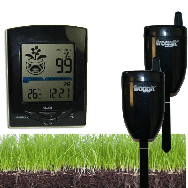 Funk Gießanzeiger Feuchtemesser 2 Sensoren Blumen Gewächshaus Temperatur