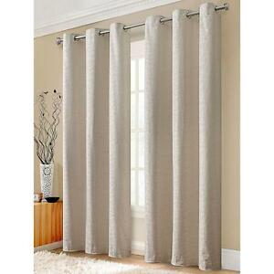 Pair of Jacquard Design Curtains - Cream UV Blackout Backing Drapes NEW