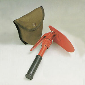 Mini-Folding-Steel-Entrenching-Pick-And-Shovel-Rubber-Grip-With-Pouch