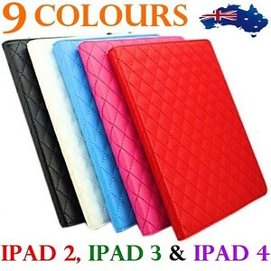 LUXURY LEATHER DESIGNER IPAD 2ND 3RD & 4TH SMART CASE COVER YELLOW PURPLE ORANGE