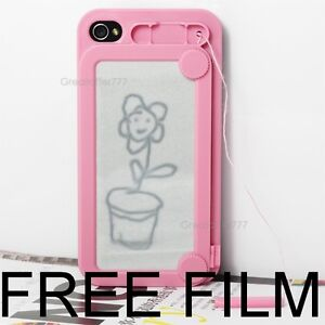 iphone 4 4s 4g case cover writing message sketch doodle drawing board - PINK