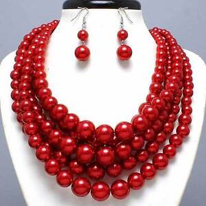 Chunky Red Beads Faux Pearls Layered Fashion Statement Necklace and Earring Set