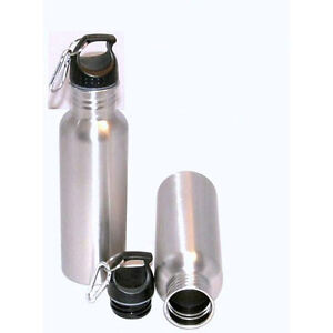 Set of 2 Stainless Steel 25oz Water Sports Bottles with Carabiner Clip BPA Free