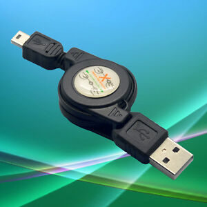 Novel-Black-USB-A-Male-to-Mini-USB-B-5-Pin-Charging-Data-Sync-Cable-Retractable