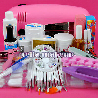 9w uv gel l dryer light file buffer nail art tip set kit rhinestone