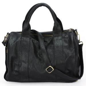 New Womens Celebrity Studded Bottom Duffel PU Leather Handbag Shoulder Bag BP948