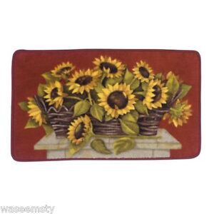 yellow sunflower flower basket kitchen nonslip small area rug mat