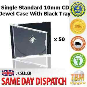 50 Single Standard 10mm CD Jewel Case With Black Tray