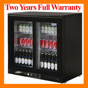 Double Sliding Door Undercounter Back Bar Display Bottle Cooler Chiller 870H mm