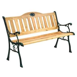 NEW Wooden Outdoor Garden Bench Seat - Cast Iron Frame Great for Patio/Balcony