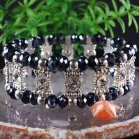 "Black Crystal Faceted Bead Stretch Bracelet Bangle 7.5""--NEW!"