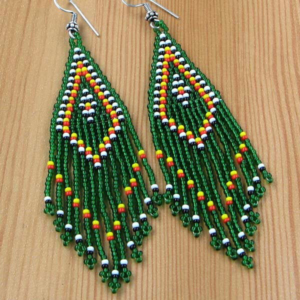 Native American Style Inspired Green Seed Beaded Chandelier Earrings