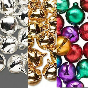Jingle-Bells-10mm-Craft-Gold-Silver-Jewel-Tone-Colors-Holiday-Lot-of-100