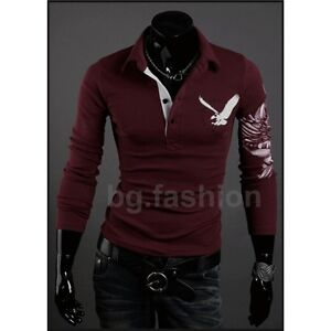 HOT! Mens Stylish Eagle Tattoo Printing Casual Long Sleeve Polo T-Shirts M L XL