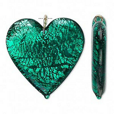Wholesale Lampwork Emerald Green Glass Heart Silver Foil Focal Pendant Jewelry