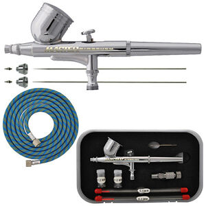 PRO Dual-Action Gravity Feed AIRBRUSH KIT SET w-3 TIPS Hobby Cake Nail Art Paint