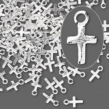 Silver Cross Charms Tiny Jewelry 7mm Scrapbook Lot of 20