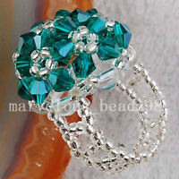 Peacock Green Crystal Beads Ring --NEW!!