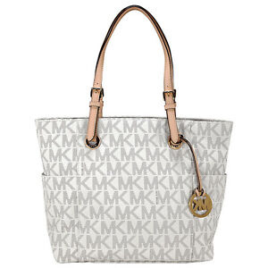 Michael-Kors-Ladies-Jet-Set-Signature-Logo-Tote-White-Vanilla