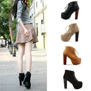 Ladies-4-Color-Lita-platforms-high-heels-Lace-Up-Ankle-shoes-boots-36-37-38-39
