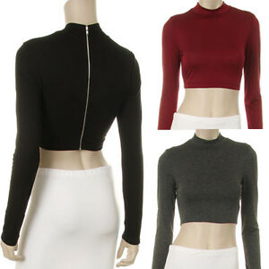 Fashion-Crop-Top-Turtleneck-Long-Sleeve-Belly-Shirt-Yoga-Dance-Trendy-Apparel