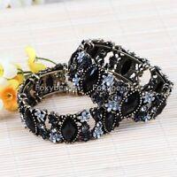 BLACK Facet Resin Crystal Cutout Flower Cuff Bracelet-NEW!!