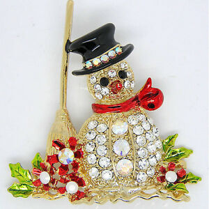 Charming Colorful Glazed Flower Broom Snowman Pin Brooch--NEW!