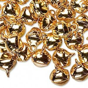 Gold-Jingle-Bells-10mm-Craft-Holiday-Lot-of-100