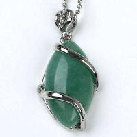 Green Aventurine Gemstone Eye Pendant Necklace--NEW!