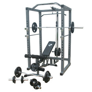 New Power Rack Weights Bench Press Home Gym Equipment Fid Bench Ebay