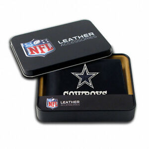 Dallas-Cowboys-Embroidered-Bifold-Genuine-Leather-Wallet-FREE-Gift-Tin-NFL