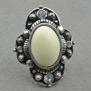 Diamante Tibet Silver Adjustable Cocktail Ring--BRAND NEW!!