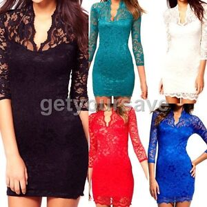 Sheer-Sexy-Women-Ladies-Stylish-Lace-Slim-Party-Clubwear-V-Neck-3-4-Sleeve-Mini