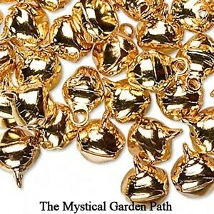 100-Steel-Gold-Jingle-Bells-w-Tiny-Clappers-10mm-Charm