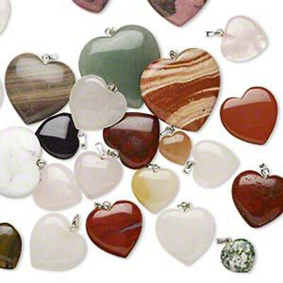 Gemstone Heart Pendants Mix Bulk Lot Silver Bail Jewelry Lot of 20