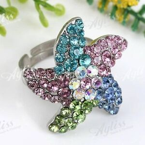 Colorful Crystal Starfish Cocktail Party Fashion Ring---NEW!!!
