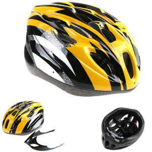 Cycling-Bicycle-Bike-Adult-Helmet-Carbon-with-Visor-Yellow