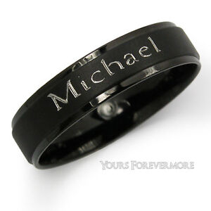 Name-Ring-Promise-Ring-Black-Titanium-Stainless-Steel-Personalized-Free