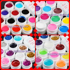 12-Color-NAIL-ART-Transparent-PURE-GLITTERY-UV-GEL-Cleanser-Plus-polish-Kit-set