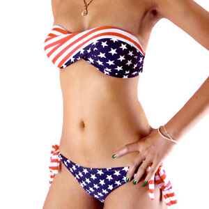 STARS-and-STRIPE-strapless-PADDED-TWISTED-Tie-Side-BIKINI-AMERICAN-FLAG-Swimsuit
