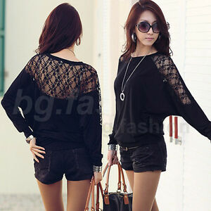 NEW Womens Ladies Loose Batwing Dolman Lace Long Sleeve Casual Top T-Shirt M-XXL