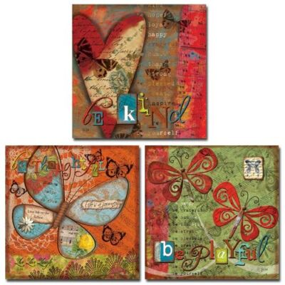 3 Butterfly Collage Art Prints Be Thoughtful Playful Kind Victoria Hutto 8 x 8 on Rummage
