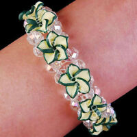 White Crystal Peacock Porcelain Flower Bracelet--NEW!