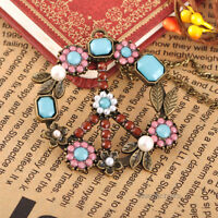 Vintage Peace Sign Colorful Beads Flower Pendant Necklace