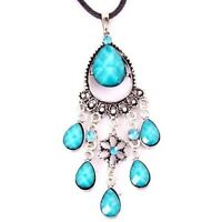 BLUE ANTIQUE&VINTAGE STYLE CRYSTAL RESIN PENDANT NECKLACE-NEW!