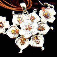 Brown Flower Gemstone Rhinestone Necklace--NEW!