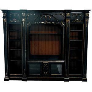 stunning enormous black mahogany entertainment center wall unit new ebay. Black Bedroom Furniture Sets. Home Design Ideas